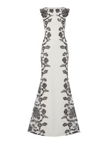 Tadashi Shoji Sleeveless gown with floral embroidery