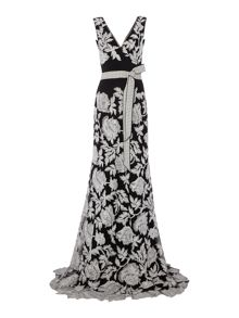 Tadashi Shoji All over embroidered V neck gown