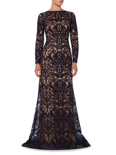 Tadashi Shoji Long sleeve all over lace gown
