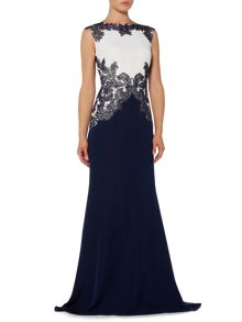 Tadashi Shoji Colour block gown with embroidered waist