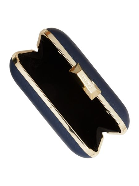 Olga Berg Navy large box clutch bag