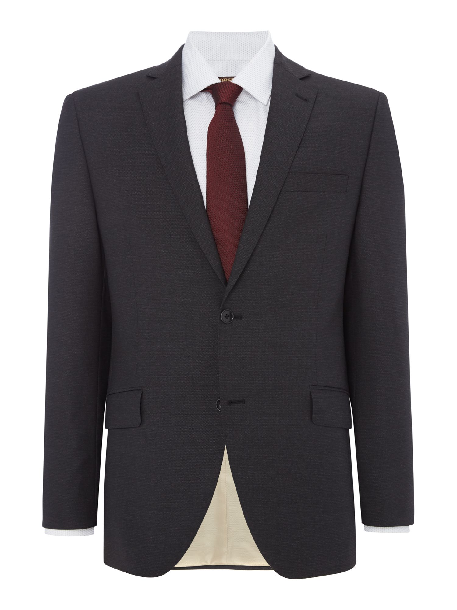Men's Corsivo Como Italian Wool Textured Suit Jacket, Charcoal
