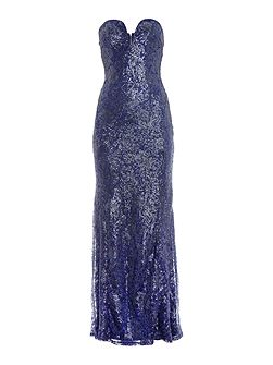 Strapless Lace Maxi with Sequin Detail