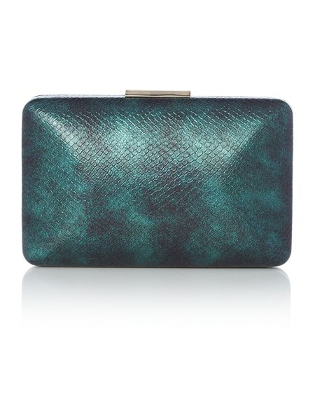 Olga Berg Teal Metalic Box Clutch