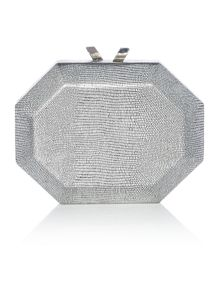 Olga Berg Gunmetal metallic replite clutch