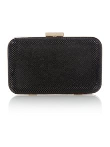 Olga Berg Black mesh box clutch bag