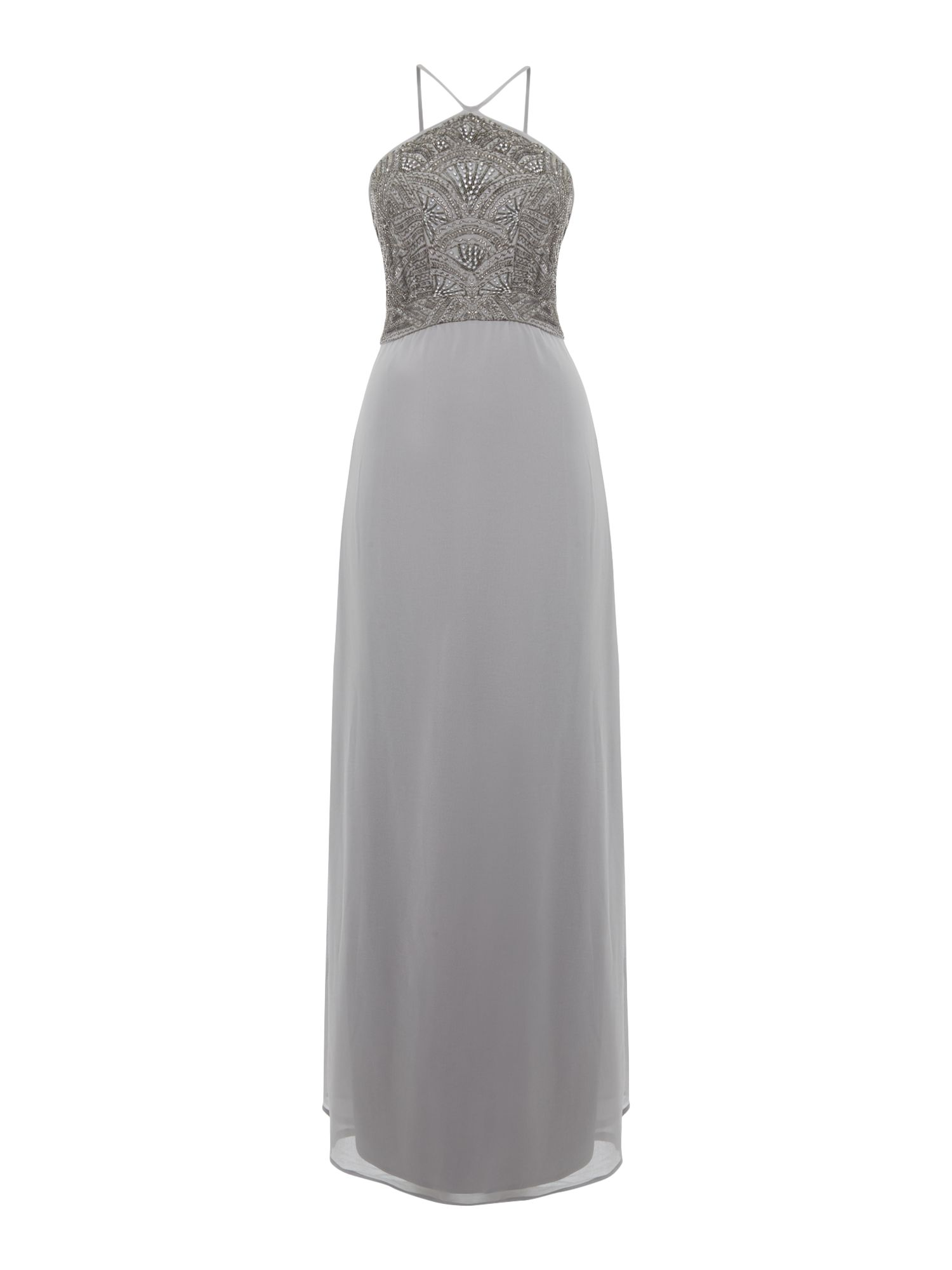 Lace and Beads Lace and Beads Sleeveless Halter Neck Sequin Maxi Dress, Grey