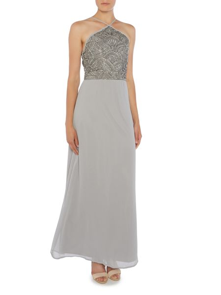 Lace and Beads Sleeveless Halter Neck Sequin Maxi Dress