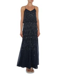 Lace and Beads Sleeveless Blouson Maxi Dress