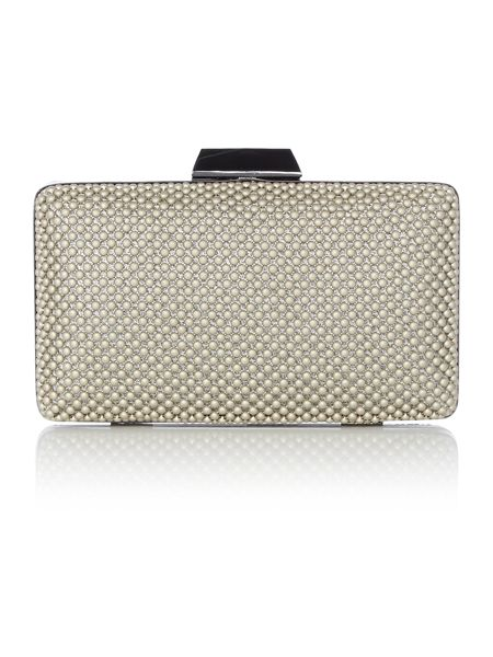 Olga Berg Champagne ball mesh clutch bag