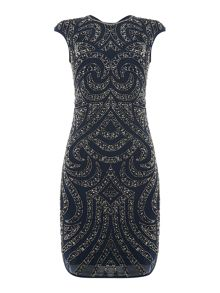 Lace and Beads Cap Sleeved Bodycon Dress