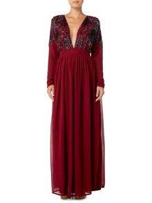 Lace and Beads Long Sleeved Plunge Maxi Dress