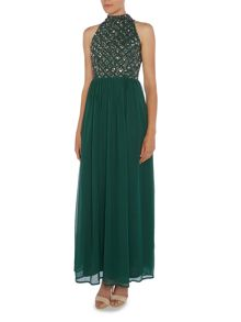 Lace and Beads Sleevless High Neck Embellished Top Maxi Dress