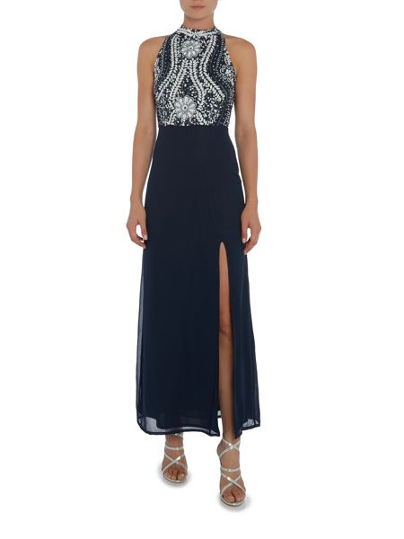 Lace and Beads Sleeveless High Neck Contrast Embellished Maxi