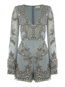Lace and Beads Long Sleeved Embellished Playsuit