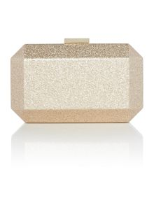 Olga Berg Gold metallic patent facetted pod clutch bag