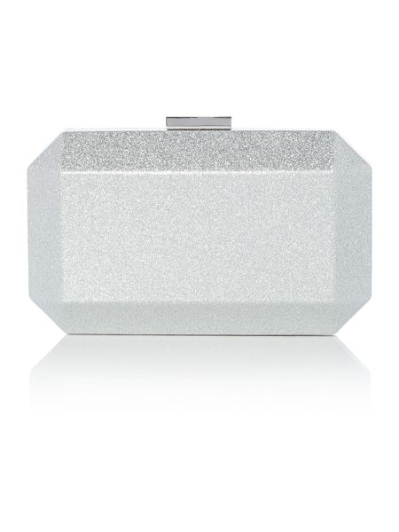 Olga Berg Silver metallic patent facetted pod clutch bag