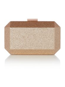 Olga Berg Rose gold metallic patent facetted pod clutch bag