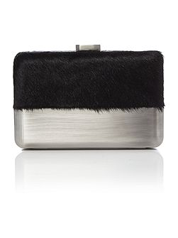 Black faux pony metal case pod clutch bag