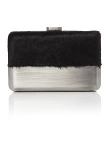 Olga Berg Black faux pony metal case pod clutch bag
