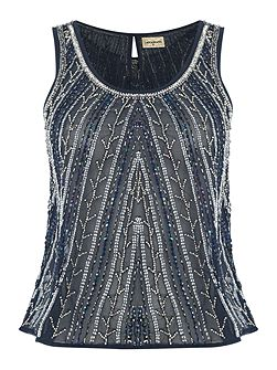 Sleeveless Embellished Sheer Top