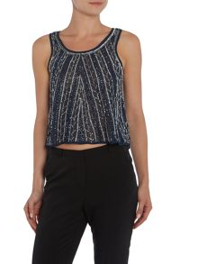 Lace and Beads Sleeveless Embellished Sheer Top