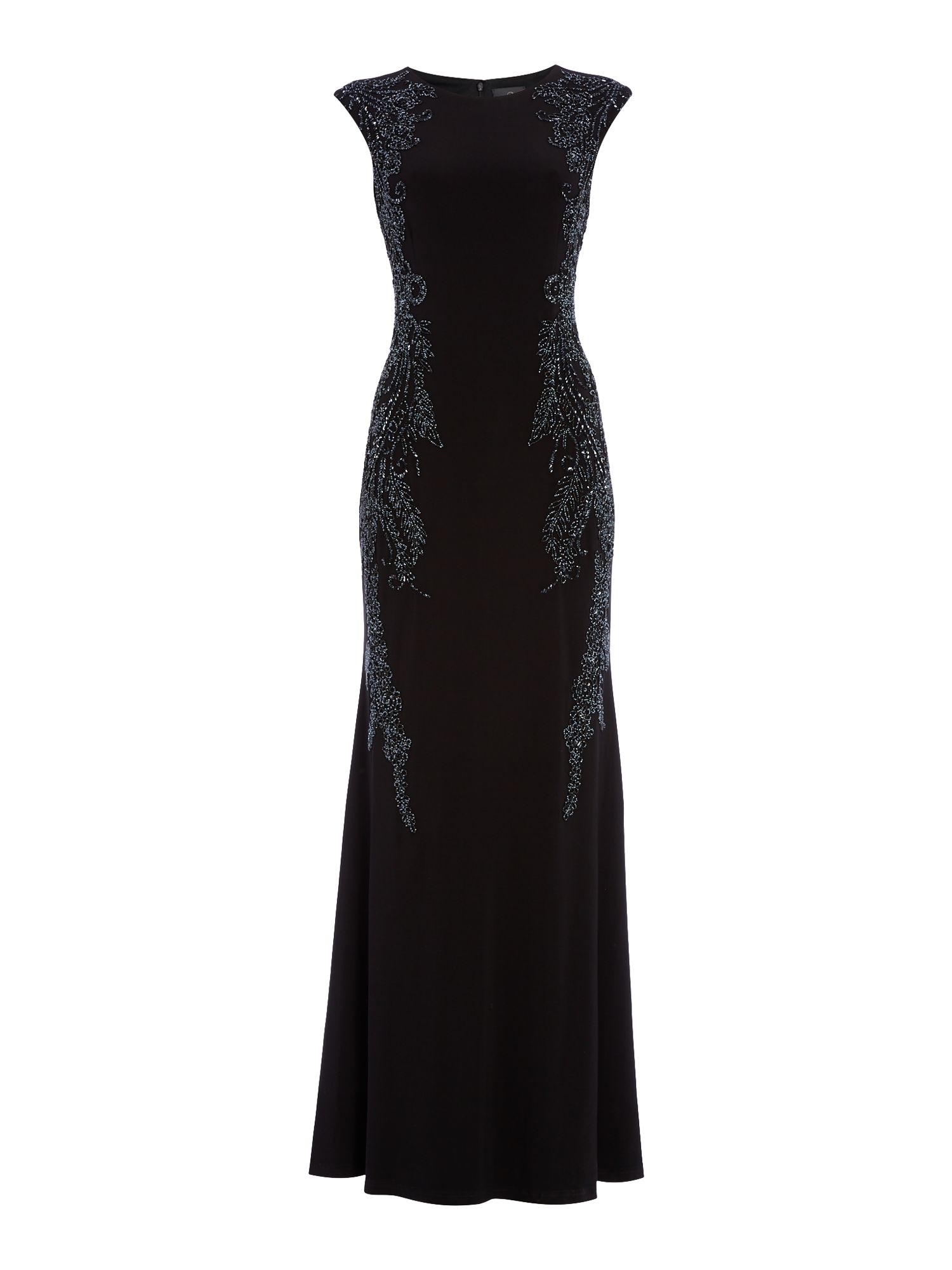 Adrianna Papell Capped sleeve jersey gown, Black