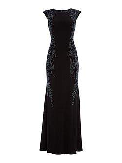 Capped sleeve jersey gown