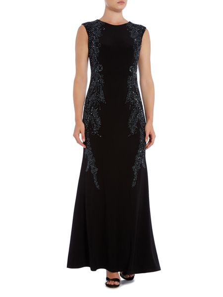 Adrianna Papell Capped sleeve jersey gown