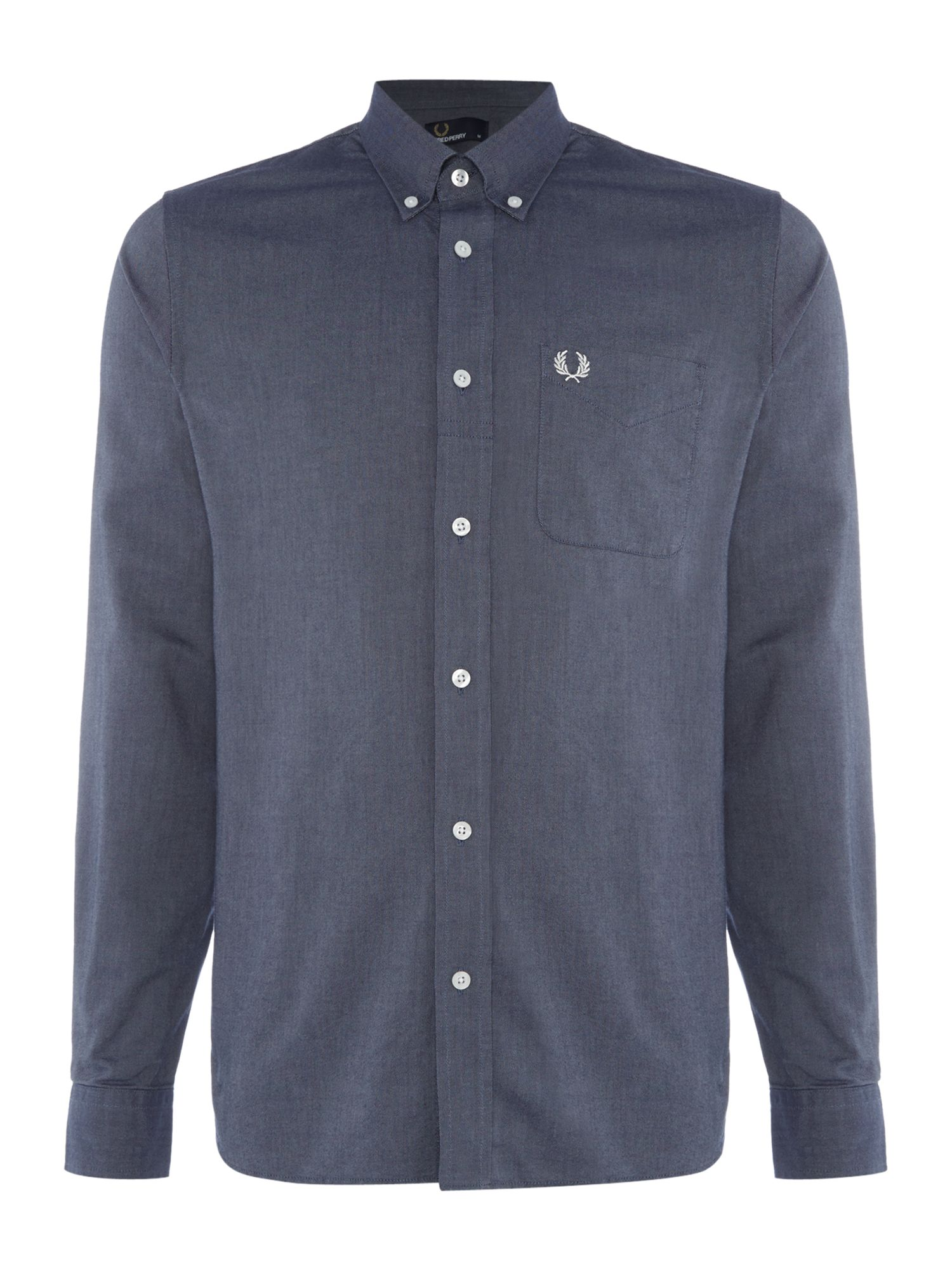 Mens Fred Perry Fred Perry Long Sleeve Oxford Shirt Dark Blue