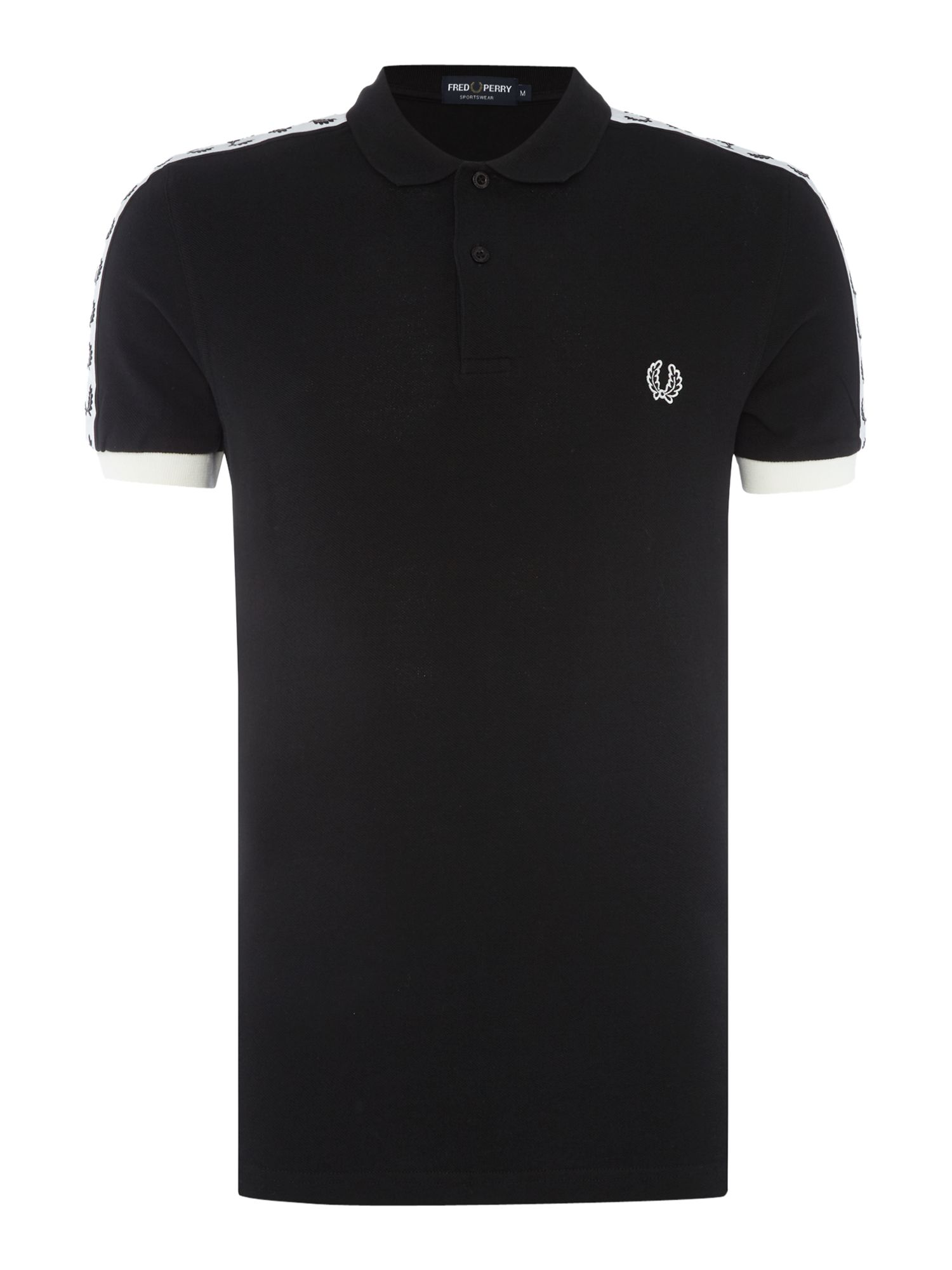 Mens Fred Perry Short Sleeve Taped Polo Black