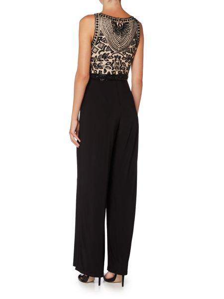 Adrianna Papell Beaded Jersey Flare Jumpsuit