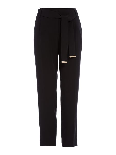 Episode Slim leg trousers with tie belt and gold hardwear