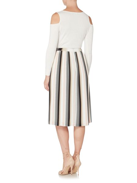 Episode Pleated stripe skirt