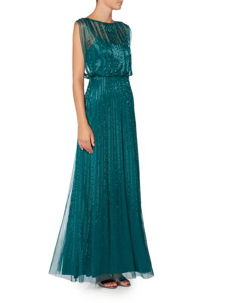 Adrianna Papell Blouson Mesh Beaded Gown