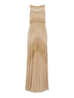 Gold mesh beaded gown