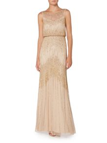 Adrianna Papell Gold mesh beaded gown