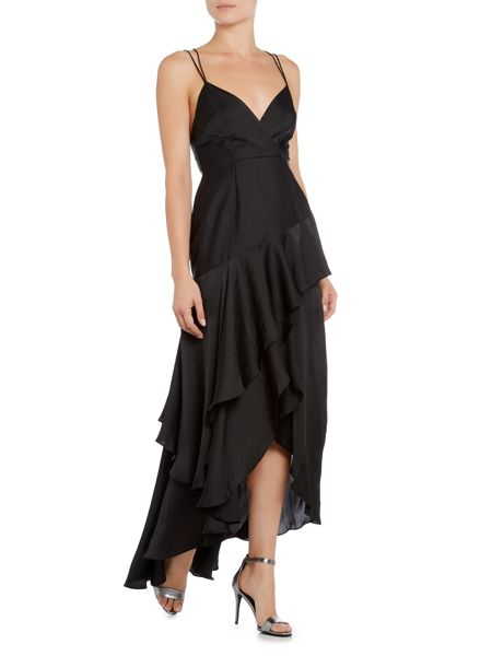 Talulah Sleeveless Low Neck Wrapped In Ruffles Maxi Dress