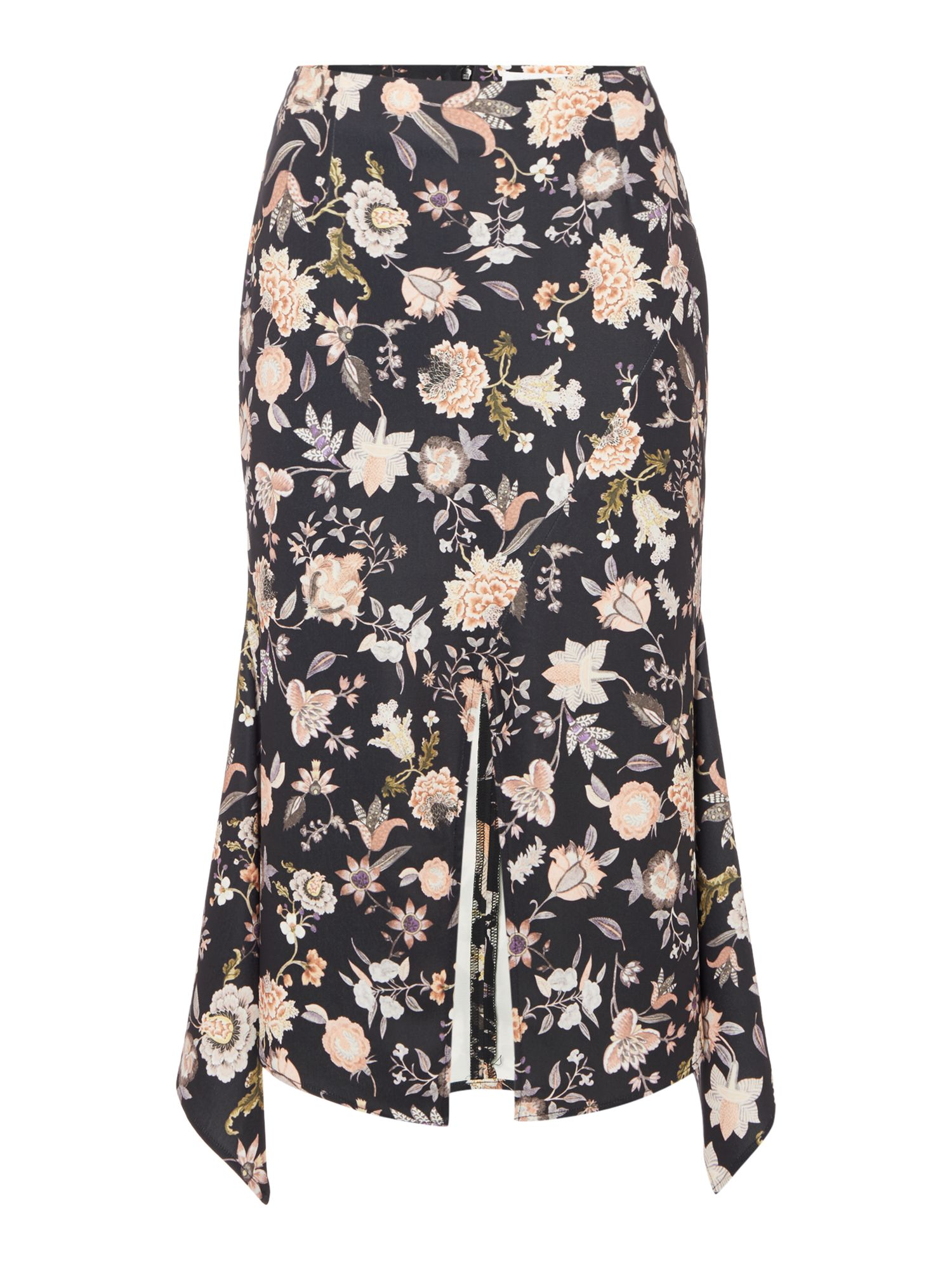 Talulah Floral Midi Split Front Skirt, Multi-Coloured