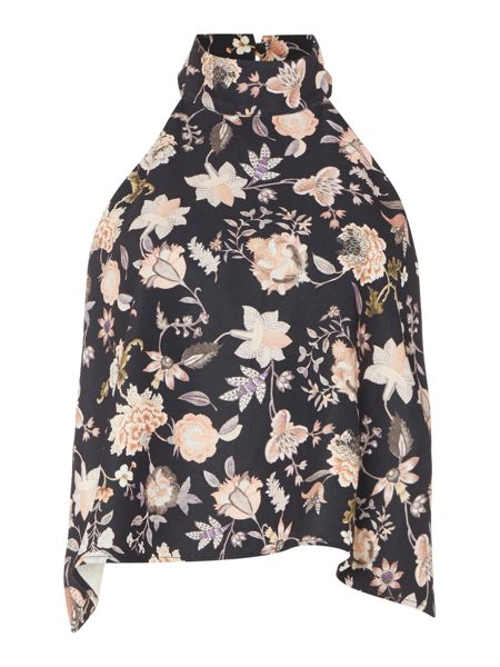 Talulah Sleeveless Halter Neck Floral Top