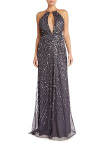 Adrianna Papell Keyhole Halter Beaded Gown