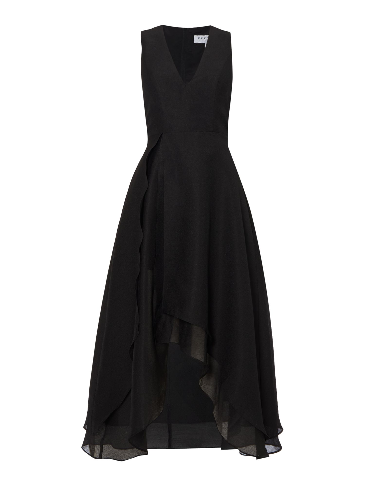 Keepsake Sleeveless V Neck Dip Hem Dress, Black