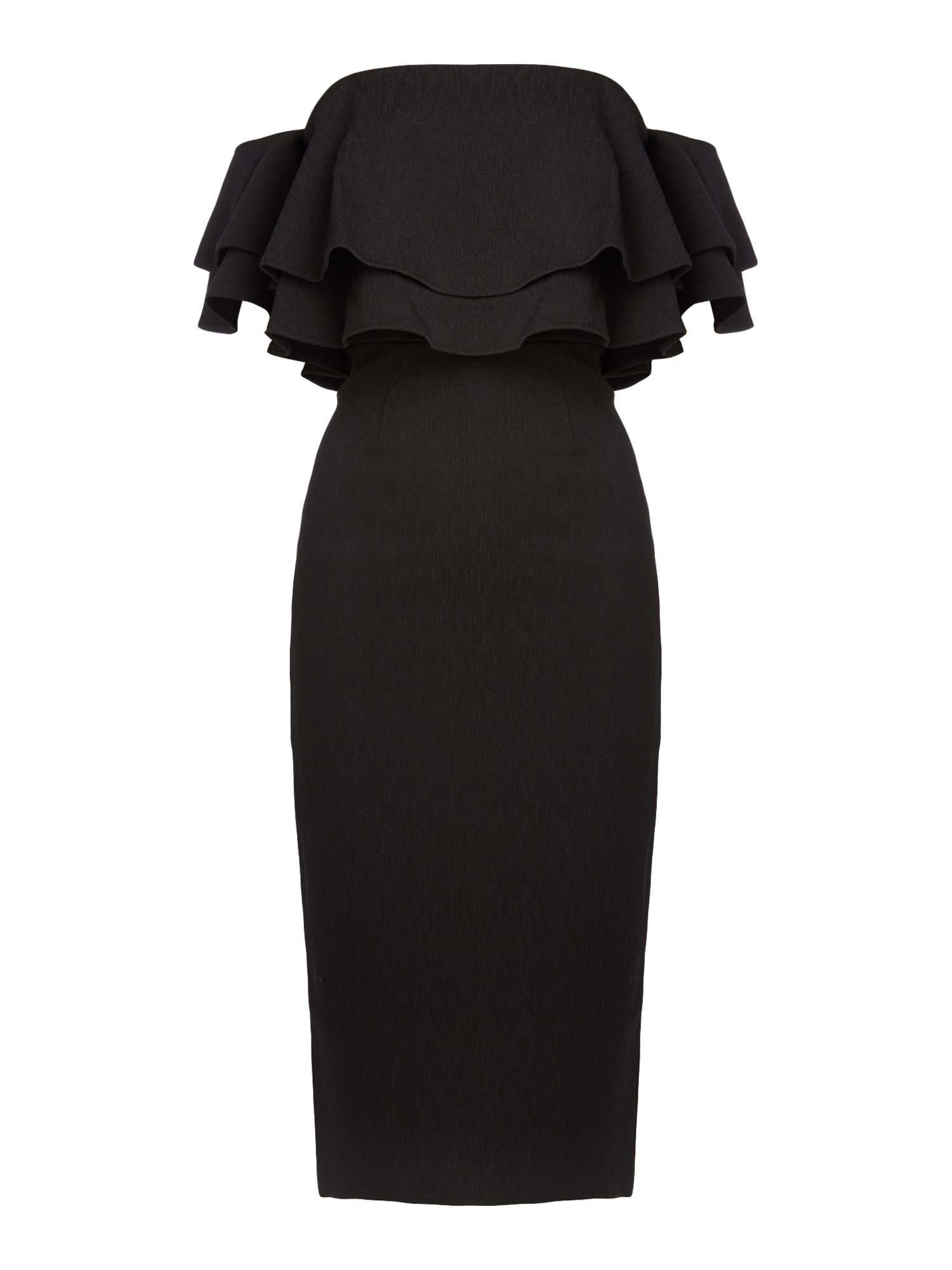 Keepsake Off Shoulder Two Fold Midi Dress, Black