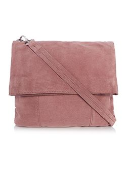 Light pink suede flapover crossbody bag