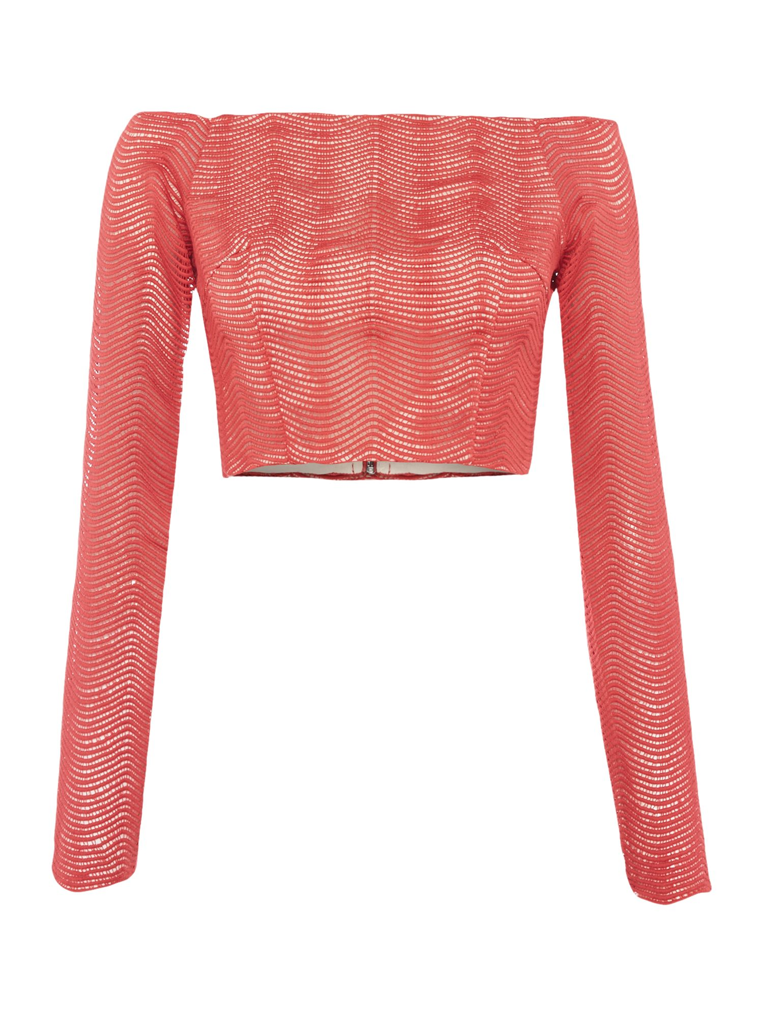 Keepsake Long Sleeve Lace Crop, Red