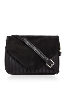 Pieces Suede and leather black flapover crossbody bag