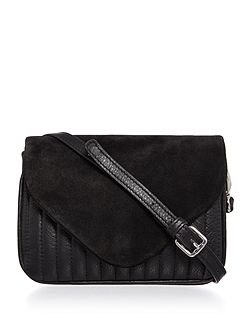 Black flapover crossbody bag
