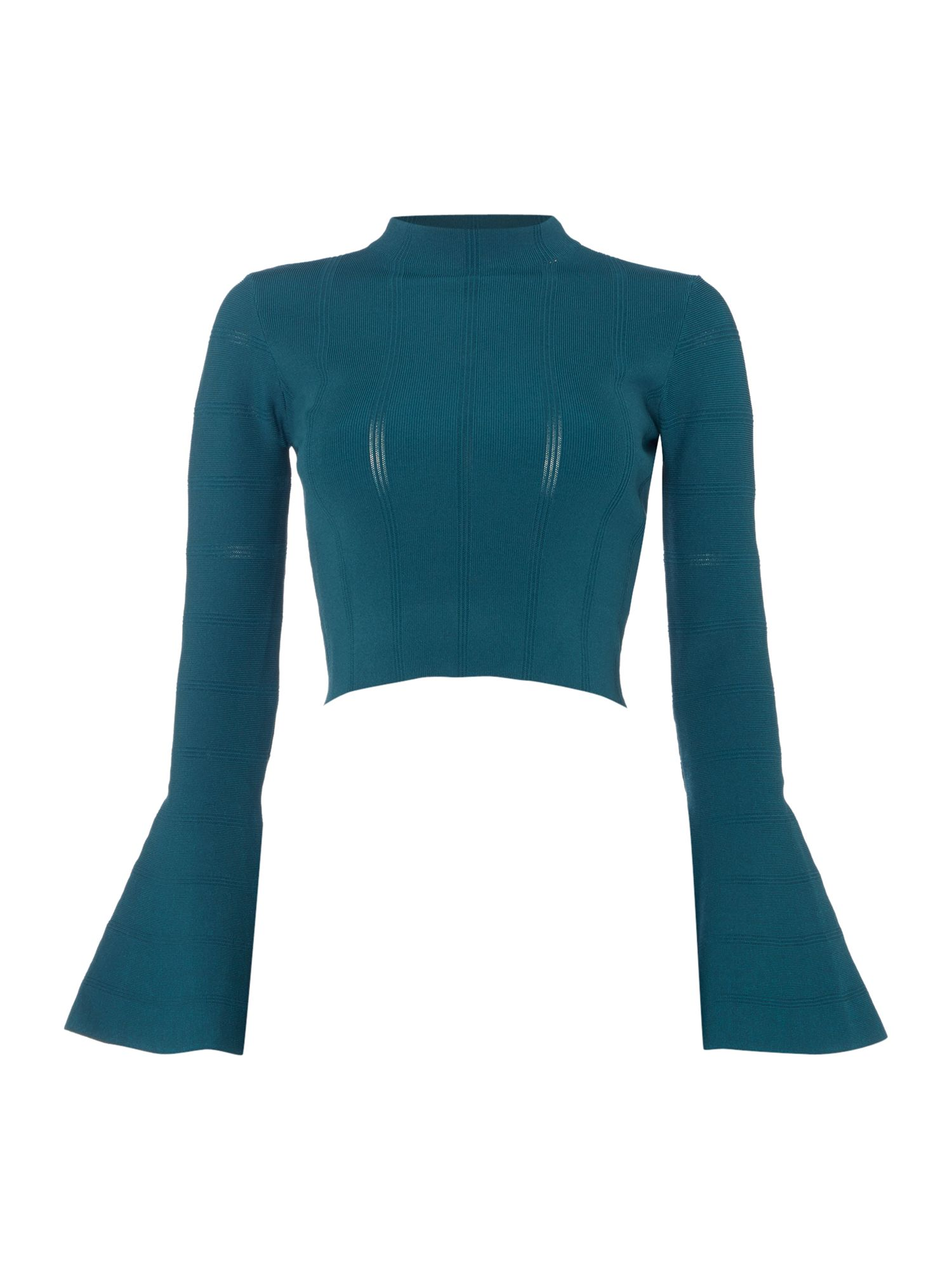 Keepsake Long Sleeved Crop Top, Forest Green