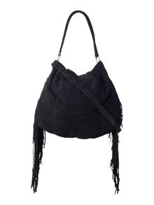 Pieces Black tassle suede hobo bag