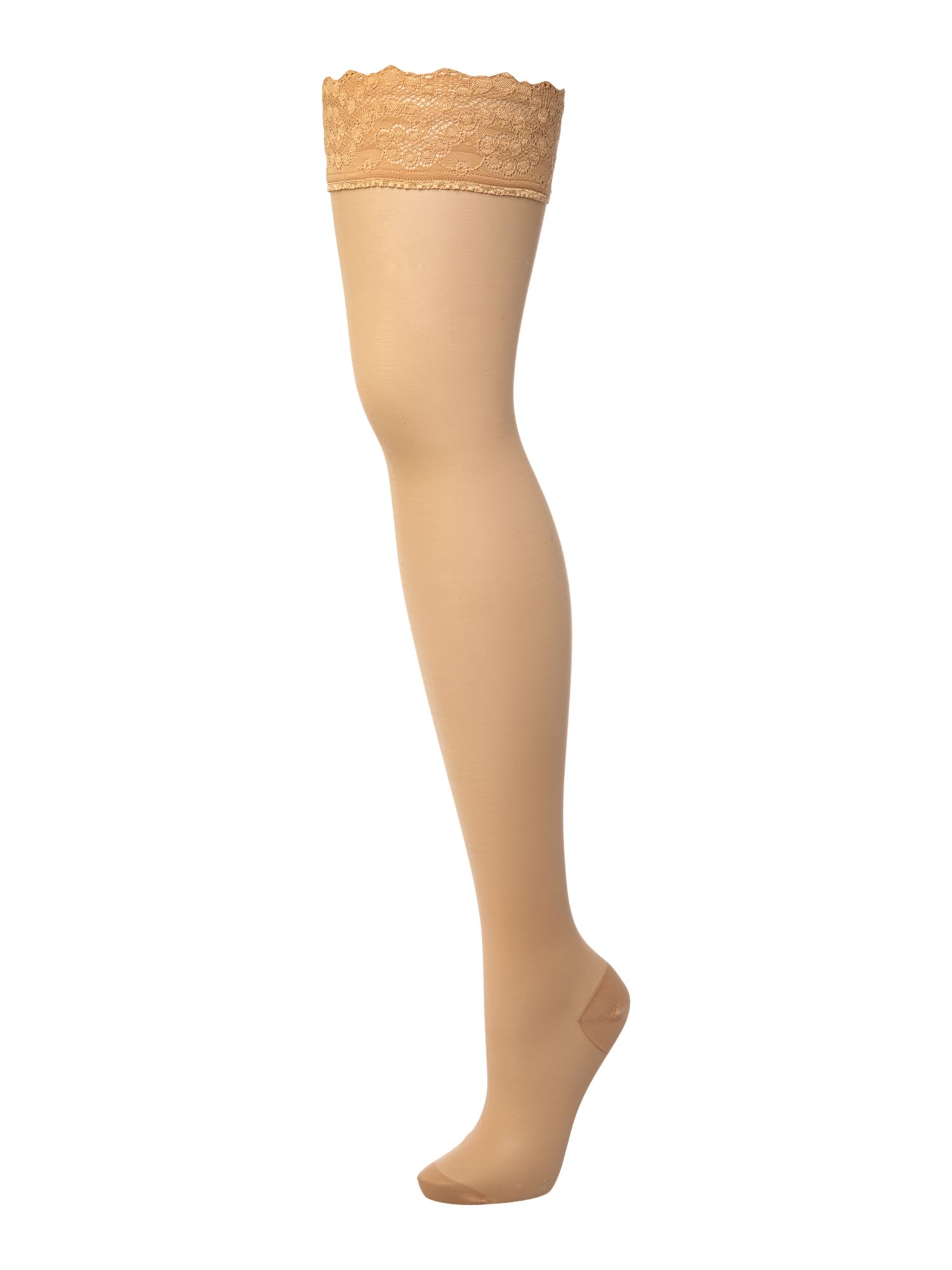 Wolford Miss W leg support 30 denier hold ups Gobi